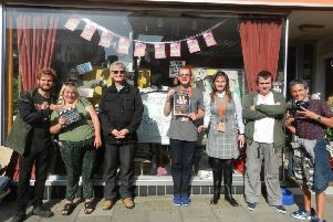 Stars of The Gruntles 2, from left, Charlie Nicholson, Sophie Boiling, Stephen Eldridge, Darren Thompson, Lucy Buckman, diretor Richard Norris and Jack Bruce