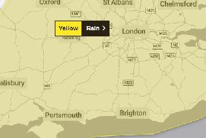A yellow weather warning has been issued for Sussex