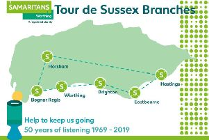The ride will take in the six Samaritans branches from Bognor Regis to Hastings and a map will show progress on the day