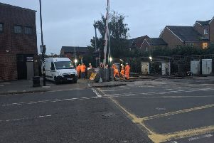Engineers at Chichester station on Monday. Picture: Joshua Powling