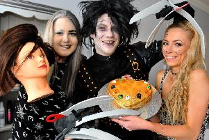 Leah Robinson, Daniel Lloyd Grant and Tally Dobson at the Halloween event at the salon