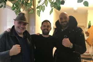 From left: John Fury, Simon Newman and Tyson Fury. Picture via Crispins Cafe