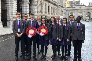 Students from Worthing High School in London on Sunday