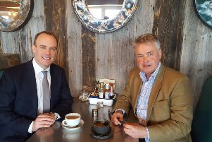 Foreign Secretary Dominic Raab with Conservative candidate for East Worthing and Shoreham, Tim Loughton SUS-191126-131936001