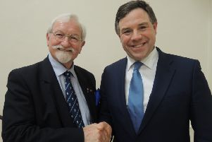 Chairman of Horsham Conservative Association Brad Watson with newly selected candidate for the 2015 general election Jeremy Quin