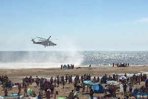 The air ambulance at Camber Sands the day five friends drowned. Photo: Twitter