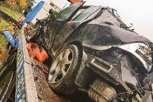 One of the cars involved in the collision in Rustington on Saturday, November 11. Picture: Sussex Roads Police