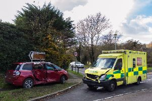 Two people were hospitalised after a collision between an ambulance and a car in East Dean earlier today. Picture: Nick Fontana