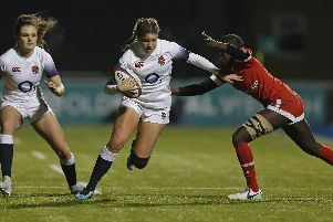 Jess Breach on the attack for England / Picture: RFU Collection via Getty Images