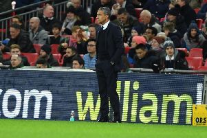 Brighton & Hove Albion manager Chris Hughton on the sideline at Wembley. Picture by PW Sporting Pics