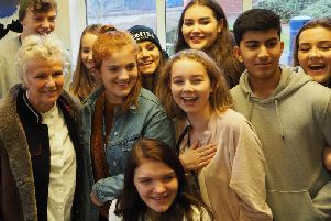 Dame Julie Walters with some of the Collyer's students. Picture: Ian McAlister