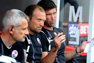 Crawley Town assistant manager Warren Feeney (centre). Picture by Steve Robards