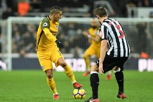 Anthony Knockaert on the ball at Newcastle. Picture by Phil Westlake (PW Sporting Photography)