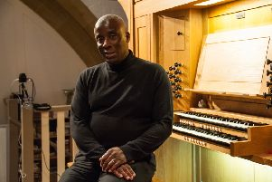 Wayne Marshall sitting at the Kenneth Tickell organ at St Wilfrid's Church. Picture by Melvyn Walmsley