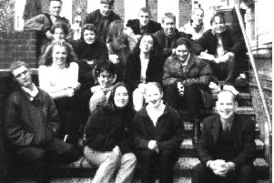 Mr Nicholls (far right) outside Duckering Hall with his Tutor Group in 1998