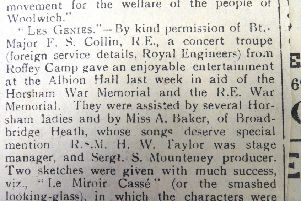 Roffey Camp mentioned in a 1919 article in the County Times