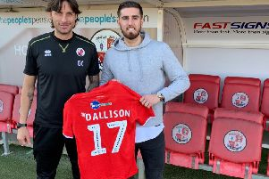 Crawley Town head coach Gabriele Cioffi welcomes new signing Tom Dallison.'Picture courtesy of Crawley Town
