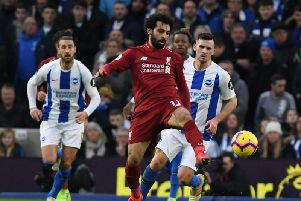 Mohamed Salah struck from the spot for Liverpool at Brighton. Picture: Phil Westlake (PW Sporting Photography)