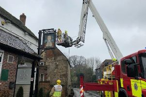Firefighters on scene at the Queen's Head,  photo by Eddie Mitchell