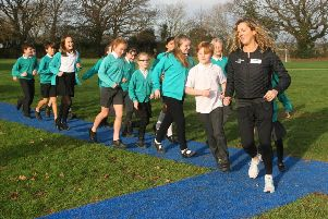 DM1911492a.jpg. Sally Gunnell opens new running track at Henfield Primary School. Photo by Derek Martin Photography. SUS-190114-122852008