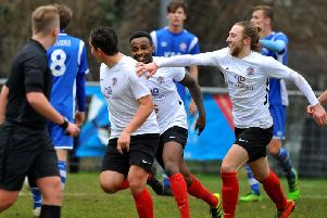 Ollie Gill is chased by Tony Nwachukwu and Jack Hartley after his opening goal in Horsham YMCA's 3-3 draw with Saltdean United. All pictures by Steve Robards.