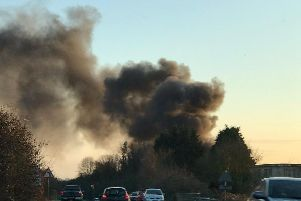 Firefighters have been battling a blaze at the Shoreham Cement Works. Picture: Twitter/@SnowySandy