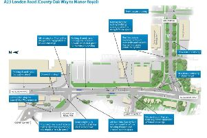 The Manor Royal plans aim to ease traffic congestion and improve pedestrian, cycling and bus facilities