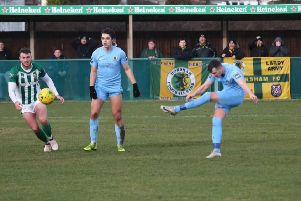 VCD Athletic v Horsham. Kieran Lavery fires home his first goal for the Hornets. Picture by John Lines