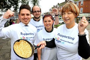 Pancake Races in Horsham. Marks and Spencer competing for Age UK. Pic Steve Robards SR1809742 SUS-181004-163458001