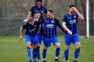 Steyning celebrate a goal in the win at Billingshurst. Picture: Steve Robards