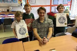 Pupils spent time with William learning to draw