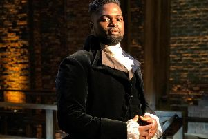 Gabriel Mokake, part of the Hamilton production. Picture by Cleve September