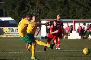 Whitstable v Horsham. Chris Smith strokes home from the penalty spot. Picture by John Lines