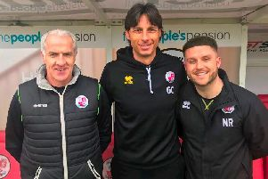 Craig Brewster, Gabriele Cioffi and Nathan Rooney. Picture courtesy of Crawley Town