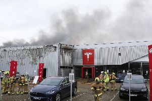 Fire at the Tesla dealership in Crawley