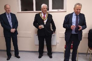 Cllr John Blackall, Horsham District Council chairman Peter Burgess and Keith Rushton, chair of trustees at the newly refurbished Windmill Room in West Chiltington Village Hall SUS-190227-132518001