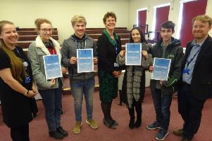 Students and teachers celebrated the success with Sally Bromley (centre)