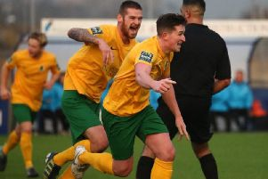 Charlie Harris celebrates his free kick against Bath City. Picture by John Lines