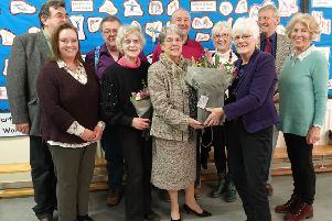 Val Court, centre, is retiring after 29 years service