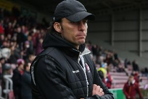 NORTHAMPTON, ENGLAND - FEBRUARY 16: Crawley Town head coach Gabriele Cioffi looks on prior to the Sky Bet League Two match between Northampton Town and Crawley Town at PTS Academy Stadium on February 16, 2019 in Northampton, United Kingdom. (Photo by Pete Norton/Getty Images) SUS-190217-162657001