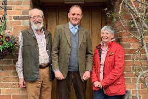 Joan and Bill Edwards, owners of The Five Bells Inn in West Chiltington, with Arundel and South Downs MP Nick Herbert SUS-190327-125545001