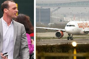 Michael Cunnett (left) was jailed for seven months for his abusive tirade on an easyJet flight at Gatwick Airport. (Airline stock image: Getty Images)
