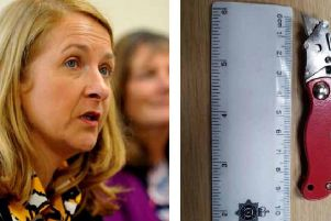 Sussex Police and Crime Commissioner Katy Bourne and the knife discovered