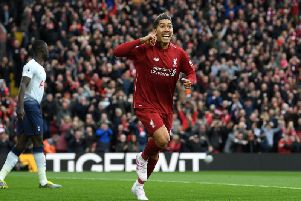 Liverpool striker Roberto Firmino celebrates scoring against Tottenham last weekend. Picture by Getty Images