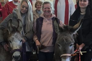 Palm Sunday celebrations with the donkeys Alice and Toad at the church