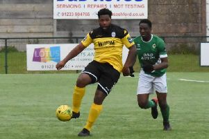 Omar Folkes (left) in action for Haywards Heath Town against Ashford Town on Saturday. Picture by Grahame Lehkyj