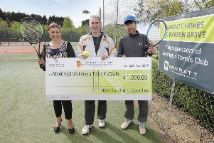 Lynnette St-Quintin (sales director at Barratt Southern Counties), Ed Feldmanis (chairman at Storrington Tennis Club) and Nigel Matthews (head coach at Storrington Tennis Club) SUS-190105-113030001