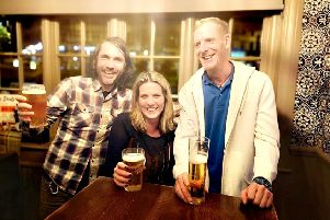 (From left): Pub quizzers Mark Skinner, Mary McDowell and Mark Thompson