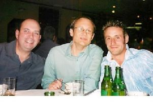 From left, Tony Marshall with friends and Rudridge colleagues Mark Stacey and Richard May