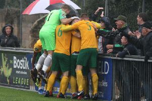 Horsham players - including goalkeeper Josh Pelling celebrate. Picture by John Lines